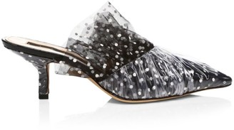 Midnight 00 Polka Dot Tulle Point-Toe Mules