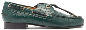 Toga Toggled Crocodile-effect Leather Loafers - Womens - Dark Green