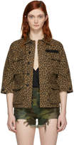 R 13 Brown Leopard Shrunken Abu Jacket