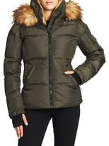 Womens Short Jacket with Detachable Hood Fur Trims and Print on Back The Portland Plaid Co