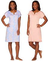 Stan Herman Ultra Jersey Solid & Print Shift Lounge Dress Set