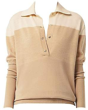 Burberry Women's Colorblock Long Sleeve Polo Shirt
