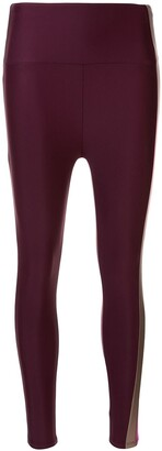 Lanston Sport Strive Striped Legging(Mid Rise, Ankle Length)