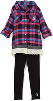 U.S. Polo Assn. Fuchsia & Black Plaid Button-Up Top & Leggings - Toddler & Girls