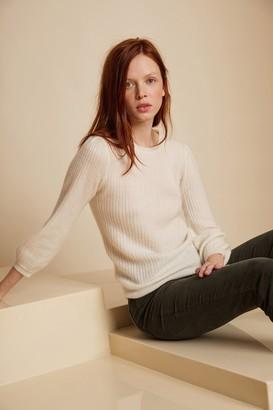 Velvet by Graham & Spencer Gwynn Ribbed Cashmere Puff Sleeve Sweater