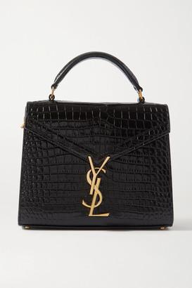 Saint Laurent Cassandra Mini Croc-effect Leather Tote - Black