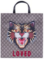 Gucci Angry Cat Print Gg Supreme Tote