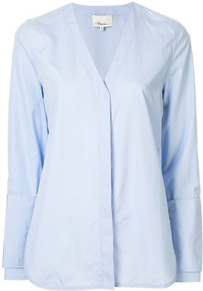3.1 Phillip Lim faux pearl V neck shirt