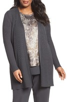 Eileen Fisher Plus Size Women's Sleek Ribbed Tencel Long Cardigan
