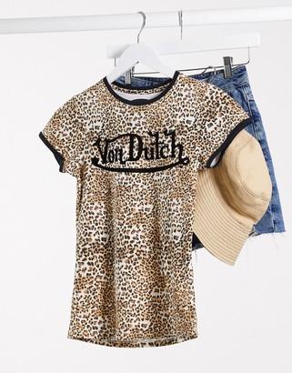 Von Dutch logo t-shirt in leopard print