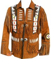 Celebrita X Design Men's Western Leather Jacket fringed and beaded and Beads CWJF