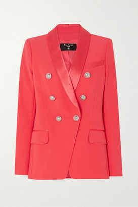 Balmain Double-breasted Satin-trimmed Crepe Blazer - Pink