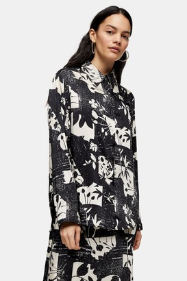 Topshop Womens **Printed Open Sleeve Shirt By Multi
