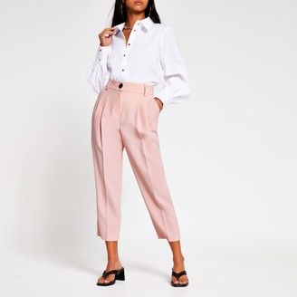 River Island Womens Petite Light Pink pleated peg trousers