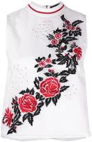 House of Holland rose embroidery tank - women - Silk/Polyester/Viscose - 8