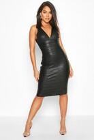 boohoo Boutique Plunge Wet Look Bandage Midi Dress