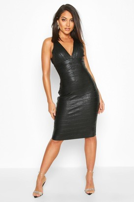 boohoo Boutique Plunge Wet Look Bandage Midi Dress
