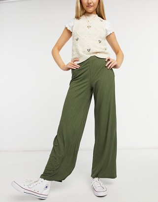 New Look ribbed wide leg trouser in khaki