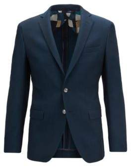 Extra-slim-fit jacket in structured cotton and wool