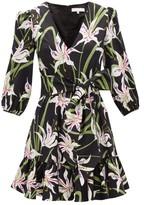 Borgo de Nor Anita Lily-print Cotton-poplin Mini Dress - Womens - Black White