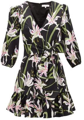 Borgo de Nor Anita Lily-print Cotton-poplin Mini Dress - Black White