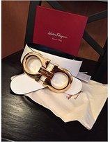 Salvatore Ferragamo Black/ Reversible Big Gold Buckle Belt