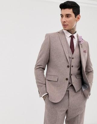 Harry Brown wedding wool blend slim fit summer tweed suit jacket-Pink