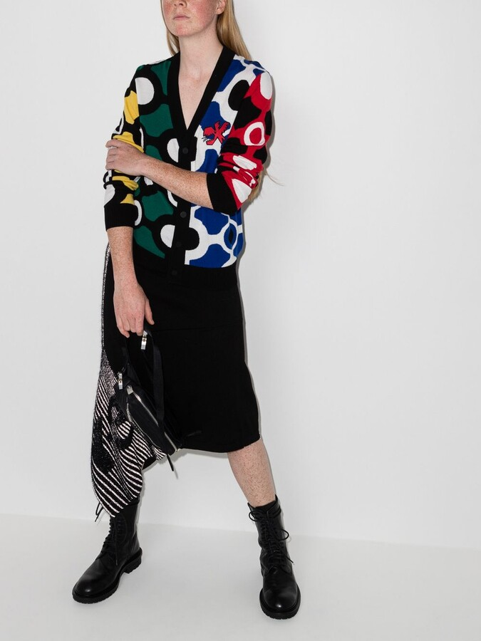 Thumbnail for your product : Charles Jeffrey Loverboy Black Colour Block Merino Wool Cardigan
