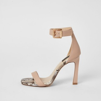 River Island Pink barely there wide fit heeled sandals