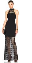 Nicholas Mosaic Lace Halter Maxi Dress