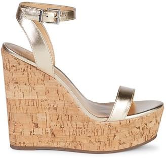 Schutz Platina Leather Wedge Sandals