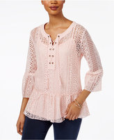 Style&Co. Style & Co Petite Flounce-Hem Lace Peasant Top, Created for Macy's