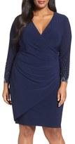 Marina Plus Size Women's Embellished Faux Wrap Dress