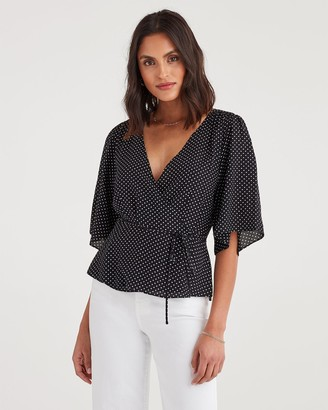7 For All Mankind Wrap Front Short Sleeve Top in Black and White Polka Dot