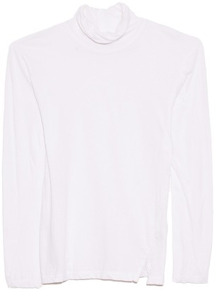 Bassike Fitted Funnel Neck T-Shirt in White