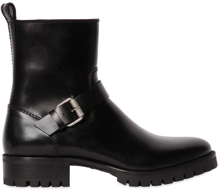 DSQUARED2 40mm Leather Ankle Boots W/ Buckle
