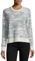 Jason Wu Long-Sleeve Abstract-Striped Pullover, Chalk/Light Celadon
