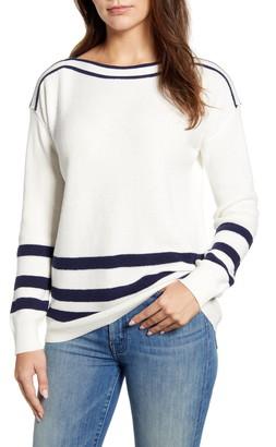 Caslon Thermal Stitch Boat Neck Sweater