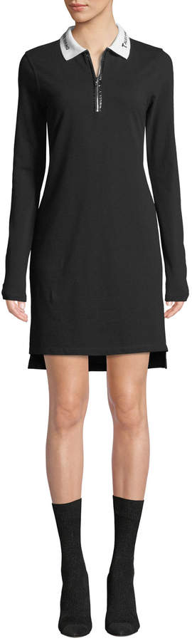 Alexander Wang Cotton Pique Polo Short Zip-Front Shirtdress