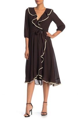 Gabby Skye Ruffle Faux Wrap Midi Dress