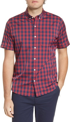 Tommy John Go Anywhere Check Short Sleeve Button-Up Performance Shirt