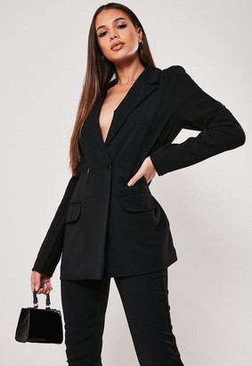 Missguided Tall Black Co Ord Relaxed Fit Long Blazer