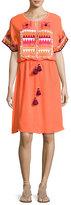 Figue Lucianna Embroidered Blouson Dress, Orange