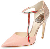Christian Dior Leather Asymmetrical T-Strap Pump