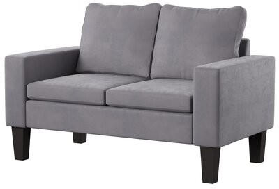 """Thumbnail for your product : Mercury Row Abbey 53"""" Square Arm Loveseat Fabric: Gray"""