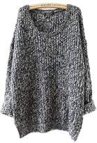 ARJOSA Women's Cable Knit Oversized Crewneck Casual Pullovers Sweaters Tops (, Black)