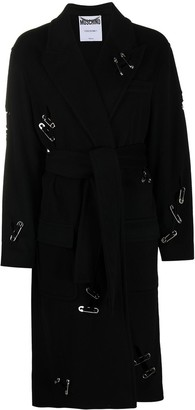 Moschino Safety Pin Detail Belted Coat