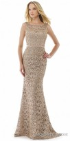 Morrell Maxie Lace Bateau Plunging Back Evening Dress