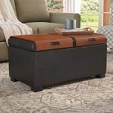 Andover Mills Thelonius Storage Ottoman Fabric: Black Leather
