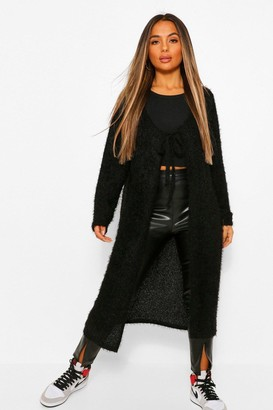 boohoo Petite Fluffy Knit Tie Front Cardigan